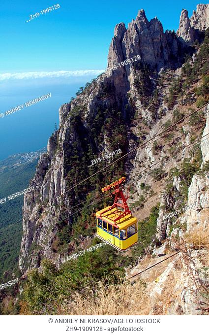 Cablecar ascending Ai-Petri peak, Crimean Mountains, Crimea, Ukraine, Eastern Europe