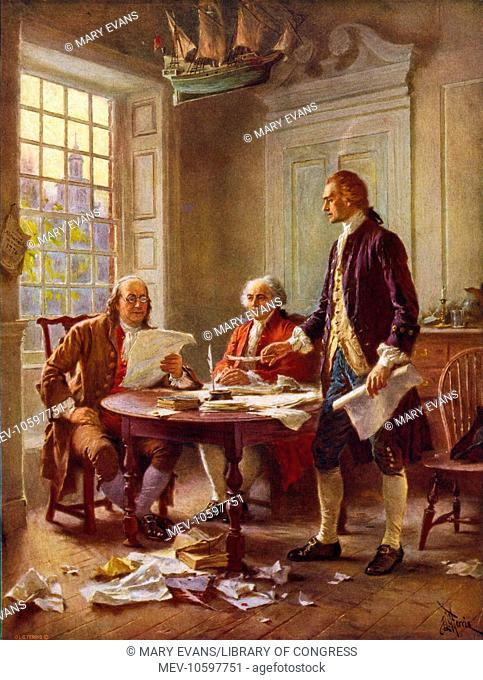 Writing the Declaration of Independence, 1776. Thomas Jefferson, Benjamin Franklin, and John Adams meet at Jefferson's lodgings