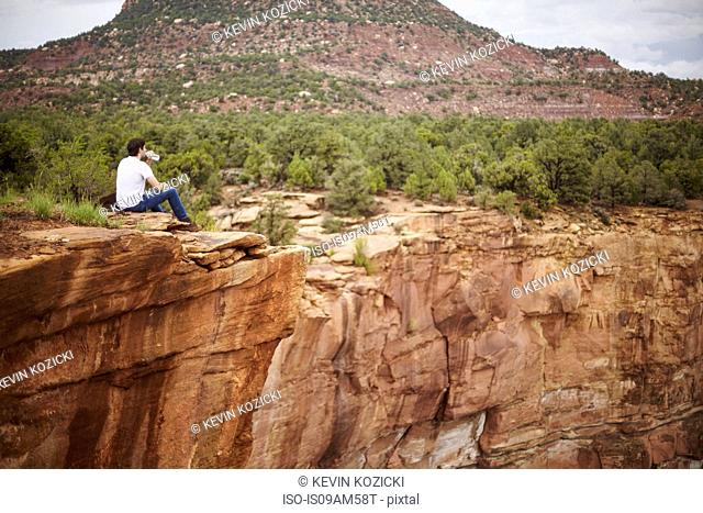 Man enjoying view, Zion, Utah, USA