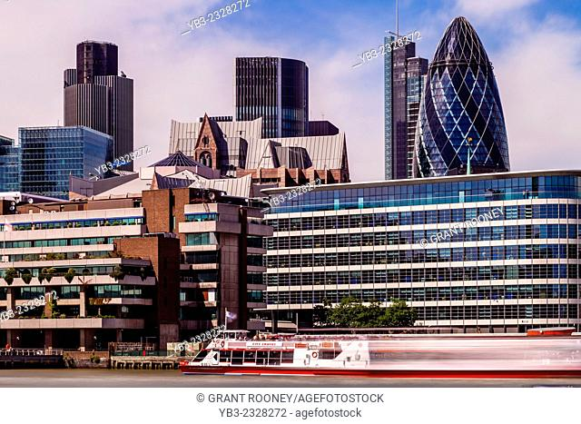 Thames River Cruise and City Of London Skyline, London, England