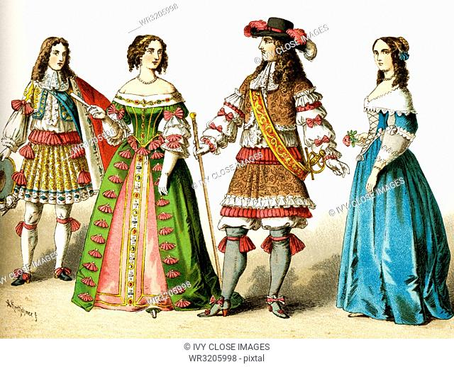 The Figures represented here are all French people living in the 17th century, specifically between 1600 and 1670. They are, from left to right