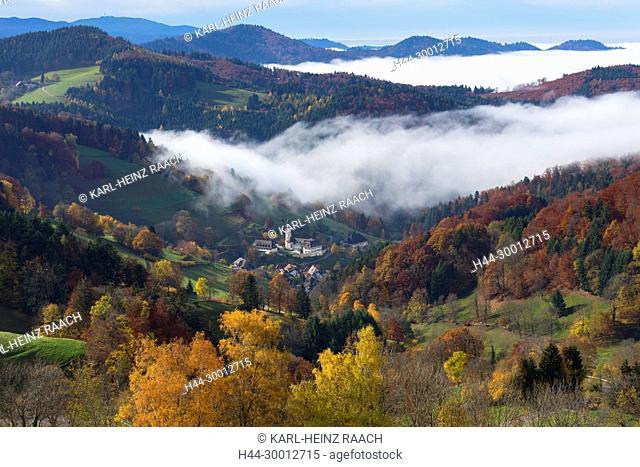 Blick vom Geiersnest nach St. Ulrich, Schwarzwald, Baden-Württemberg, Deutschland