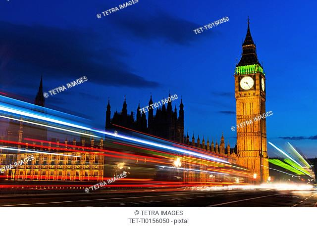 UK, England, London, Big Ben and light trails at night