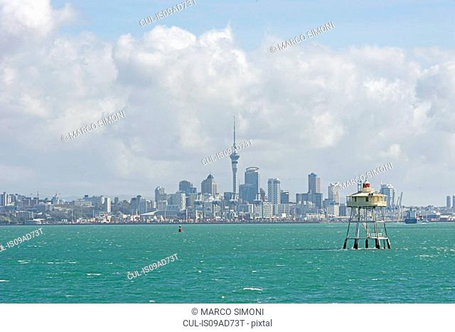 Bean Rock lighthouse and harbor, Auckland, North Island, New Zealand