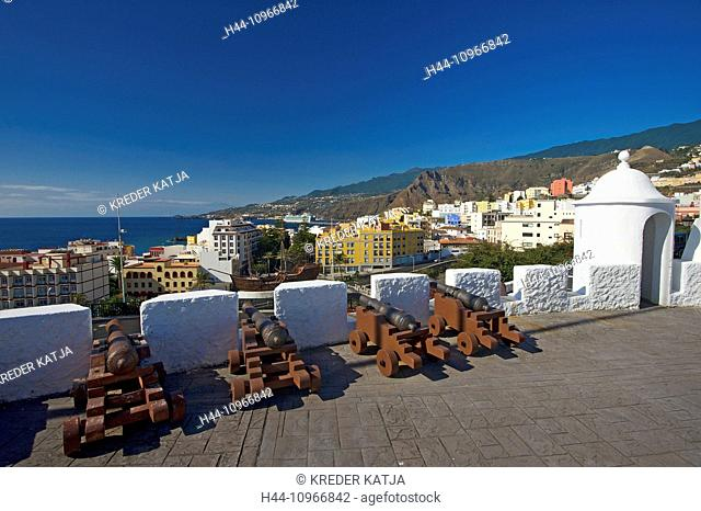 Canaries, Canary islands, isles, La Palma, Spain, Europe, outside, day, nobody, Castillo de la Virgen, Santa Cruz de La Palma, town view, town, city, urban
