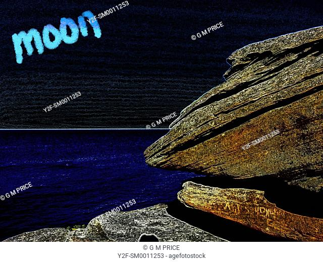 altered colour image of sandstone rock against the sea, black sky and the word moon, Sydney