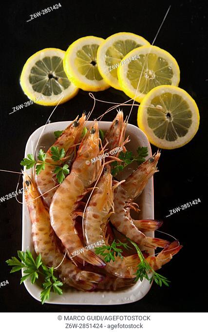 Presentation of crustaceans on black pumice black table