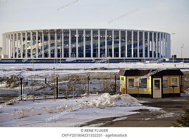 View of the new Nizhny Novgorod Stadium, a venue for 2018 FIFA World Cup matches, seen in direction from the Alexander Nevsky Cathedral in Nizhny Novgorod
