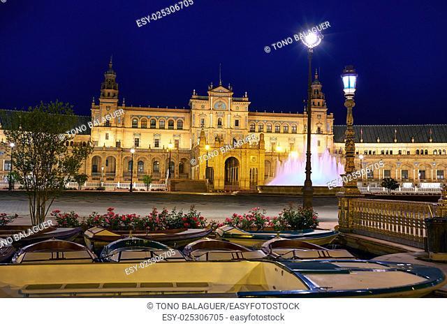 Seville Sevilla Plaza de Espana sunset Andalusia Spain square