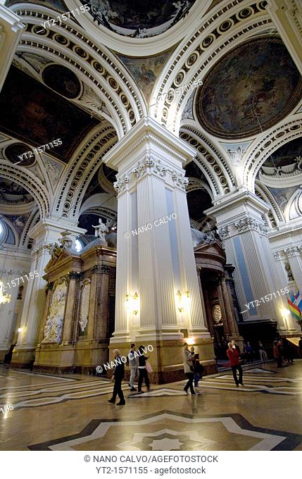 Inside view of the Basilica-Cathedral of Our Lady of the Pillar in Spanish Catedral-Basilica de Nuestra Señora del Pilar It is a Roman Catholic church in the...