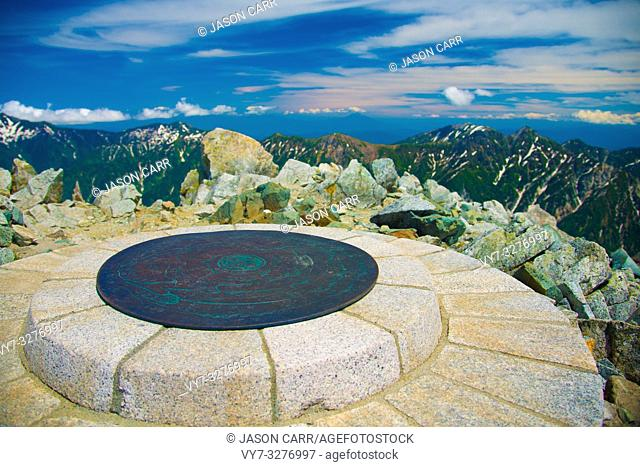 Sign marked as the Top of the Tateyama mountains in Toyama, Japan. Oyama Shrine is the highest located shrine in Japan