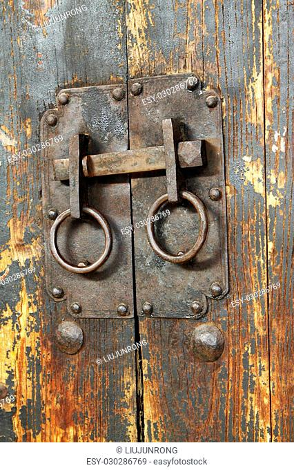 Chinese traditional style of wooden door and knocker