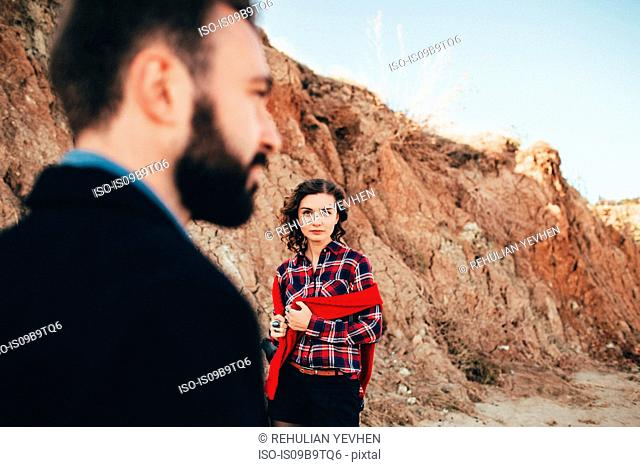 Mid adult woman looking at boyfriend on beach, Odessa Oblast, Ukraine