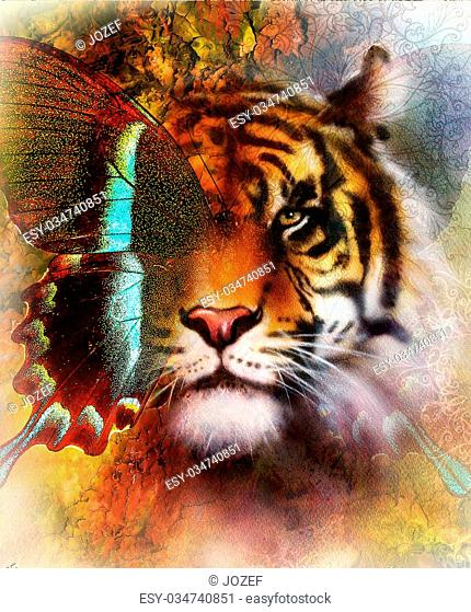 portrait tiger and butterfly wings Color Abstract background and ornament, vintage and paper structure. Animal concept, eye contact