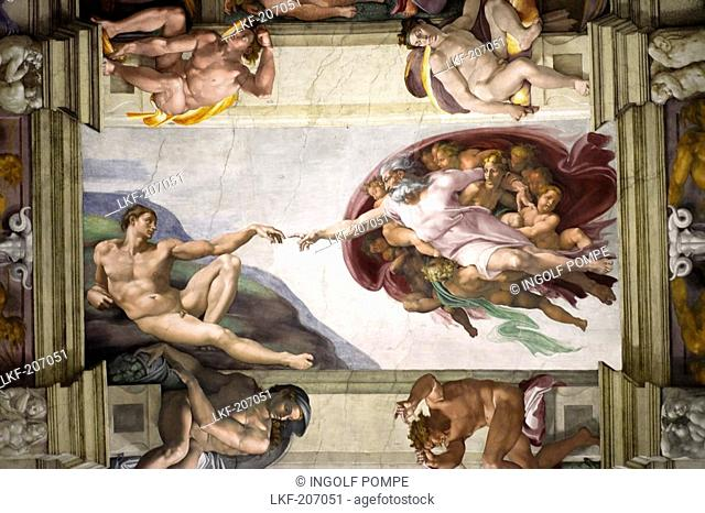 God creates Adam, Sistine Chapel ceiling by Michelangelo, Sistine Chapel, Vatican Museums, Vatican City, Rome, Italy