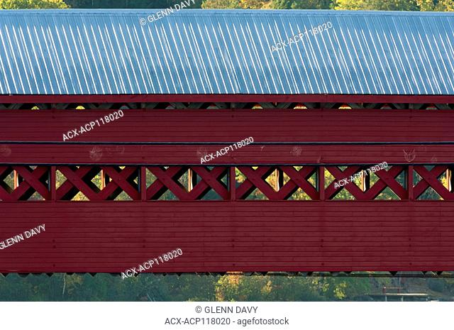 Covered bridge, detail, Wakefield, Quebec, Canada