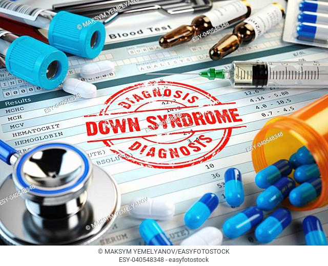 Down syndrome disease diagnosis. Stamp, stethoscope, syringe, blood test and pills on the clipboard with medical report. 3d illustration