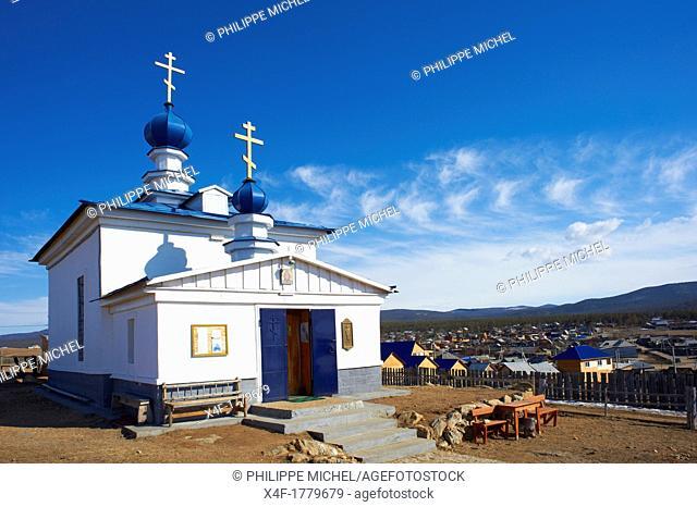 Russia, Siberia, Irkutsk oblast, Baikal lake, Maloe More little sea, frozen lake during winter, ile d'Olkhon, Khoujir