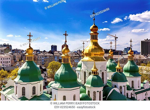 Saint Sophia Sofia Cathedral Spires Towe Golden Dome Sofiyskaya Square Kiev Ukraine. Saint Sophia is oldest Cathedral and Church in Kiev