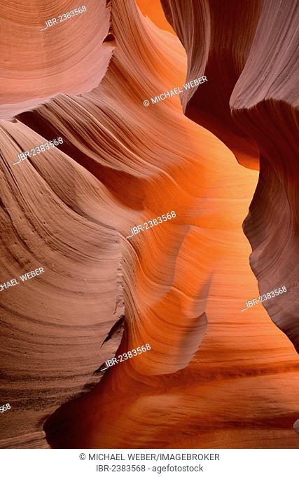 Red sandstone of the Moenkopi Formation, rock formations, colors and patterns, Lower Antelope Slot Canyon, Corkscrew Canyon, Page, Navajo Nation Reservation