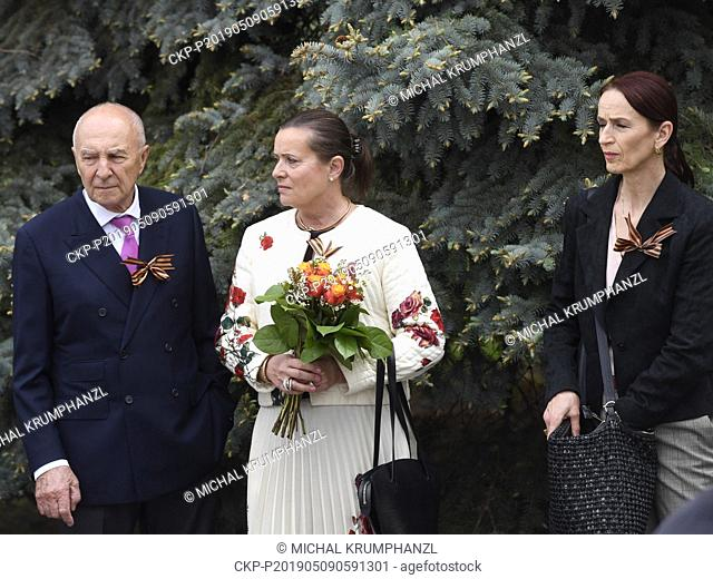 Former head of the Energy Regulation Office (ERU) Alena Vitaskova, center, attends a reception on occasion of Victory Day at Russian embassy in Prague