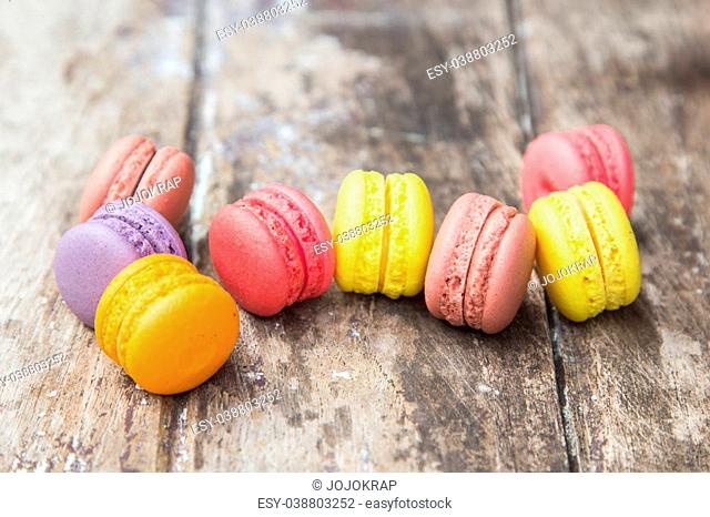 Desserts colorful macaroons buttercream