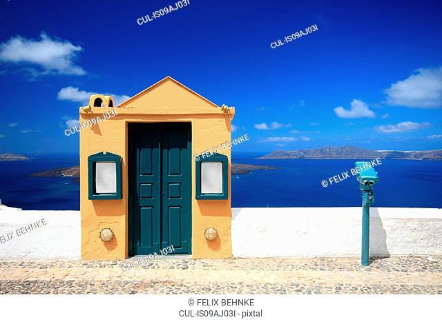Harbor wall and doorway, Fira, Santorini, Cyclades Islands, Greece