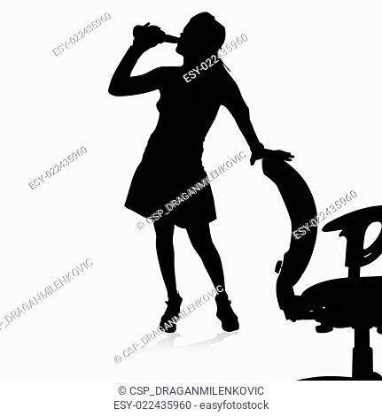 drunk girl is holding a chair