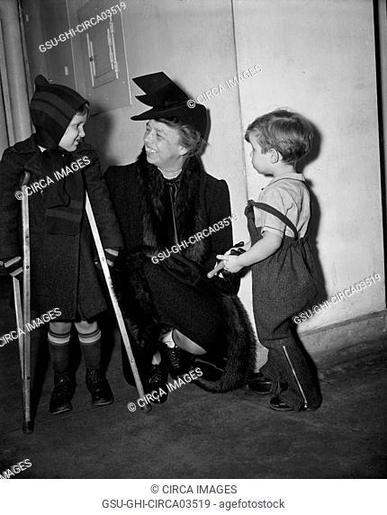 First Lady Eleanor Roosevelt Visiting Children's Hospital, Washington DC, USA, Harris & Ewing, January 1939