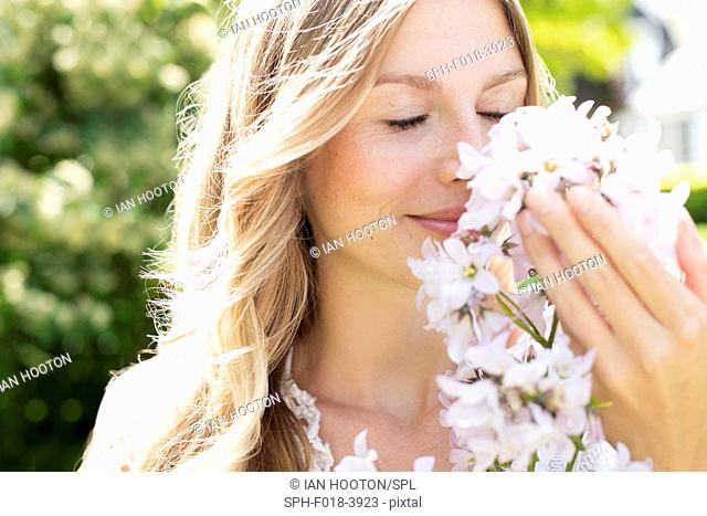 MODEL RELEASED. Young woman smelling white flowers