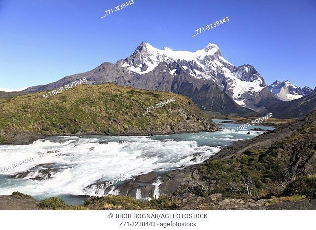Chile, Magallanes, Torres del Paine, national park, Salto Grande, Paine Grande,