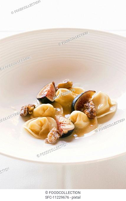Cheese Ravioli with a Fig and Candied Walnut Sauce