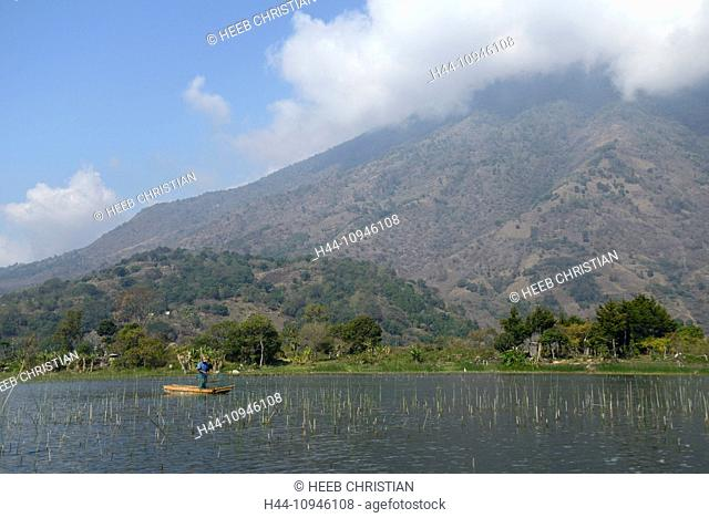 Central America, Guatemala, Lago de, Atitlan, lake, Santiago, boat, mountains, volcano, rim of fire, landscape, fisherman, Solola