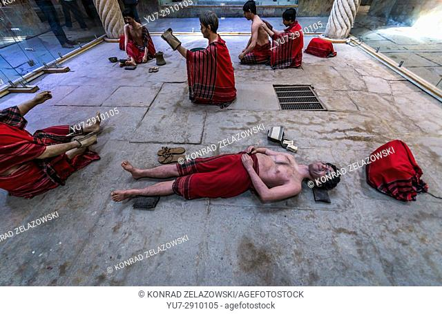 Scene with wax sculptuers in old public baths called Vakil Bath in Shiraz city, capital of Fars Province in Iran