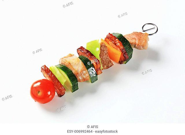 Pork and vegetable skewer