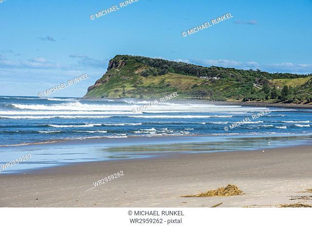 Long sandy beach in Lennox Head, Byron Bay, Queensland, Australia, Pacific