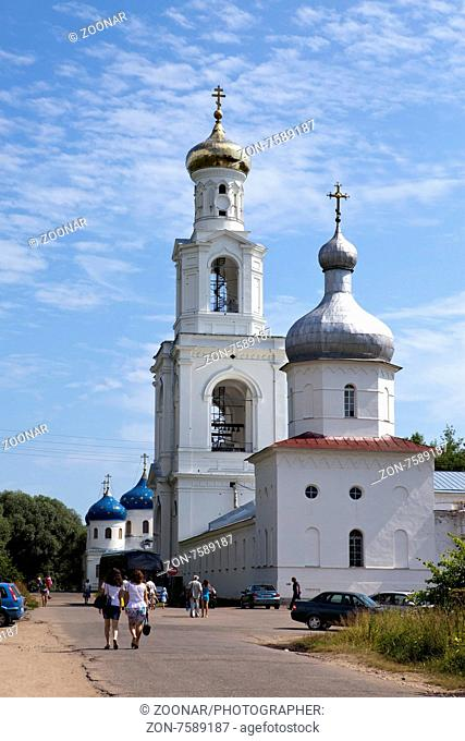 GREAT NOVGOROD - JULY 22: Tourists and believers go to Yuryev monastery, Russian Orthodox Church, on July 22, 2010 in Great Novgorod, Russia