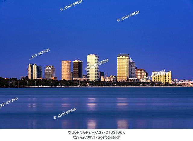 Tampa skyline across Hillsborough Bay, Tampa, Florida, USA