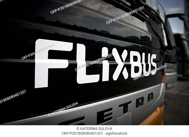 A FlixBus bus is seen during a press conference on 1st anniversary of launch of transport on domestic bus lines, in Prague, Czech Republic, on August 8, 2018