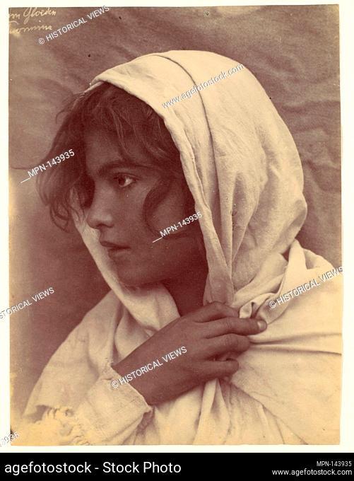 [Young Girl [?] with Cloak of Cloth Over Head, Sicily, Italy]. Artist: Wilhelm von Gloeden (Italian, born Germany, 1886-1931); Date: 1906; Medium: Albumen...