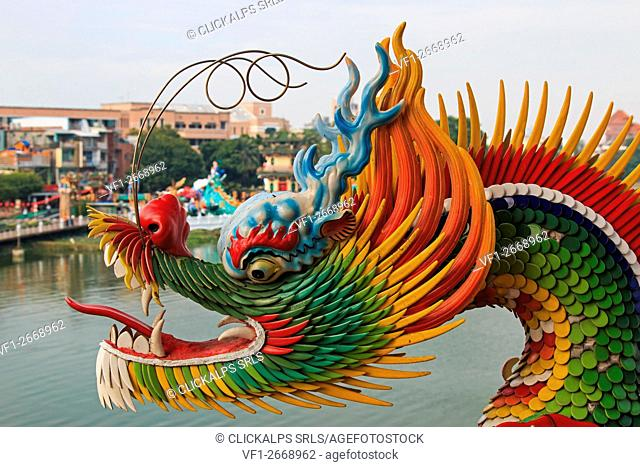 Detail of the Dragon at Dragon And Tiger Pagodas of Lotus Pond, Kaohsiung, Taiwan