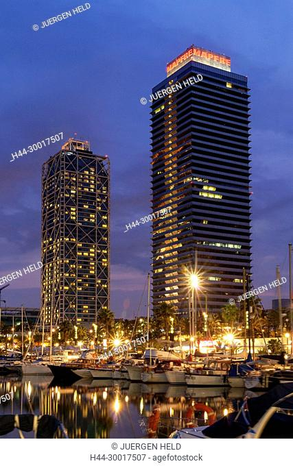 Spain, Catalonia, Catalunya, Barcelona, Mapfre tower and Hotel Arts at twilight, Marina