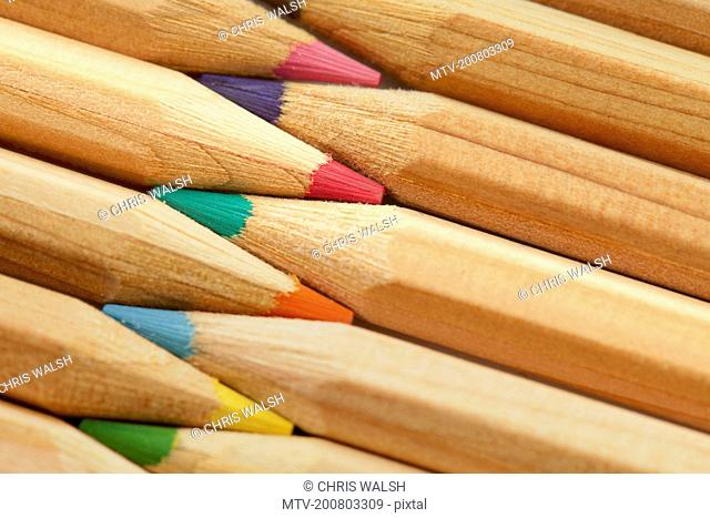 Colour pencils still life macro close up detail