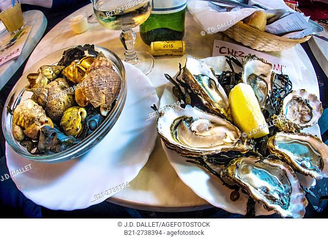 "France-Aquitaine-Gironde- Food- """"Bulos"""" and """"Huitres"""" at Bistrot """"Chez Jean-Mi"""" on """"Marché des capucins, at Bordeaux"