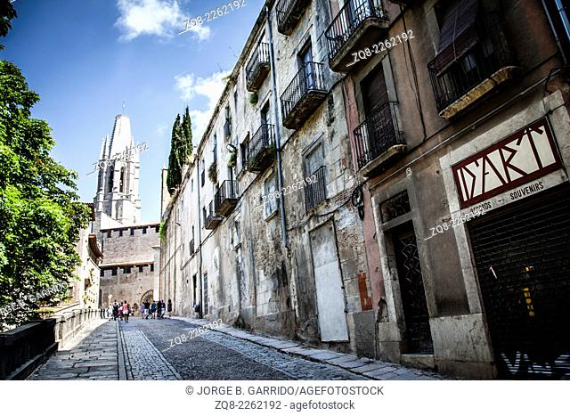 Street of Girona, Spain, with the cathedral