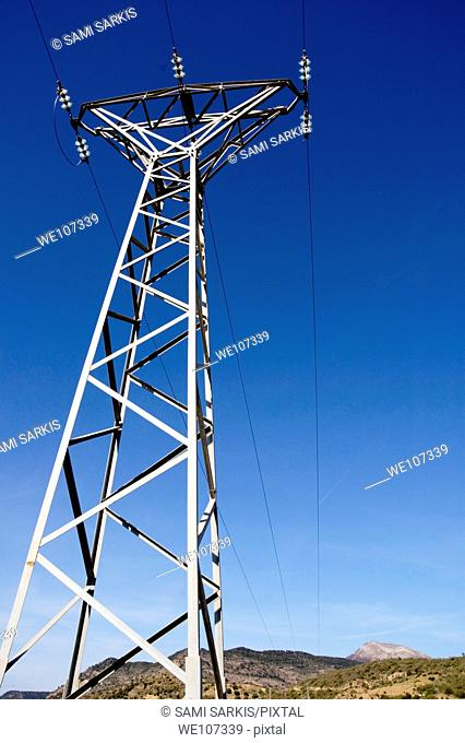Electricity pylon in the countryside, Andalusia, Spain