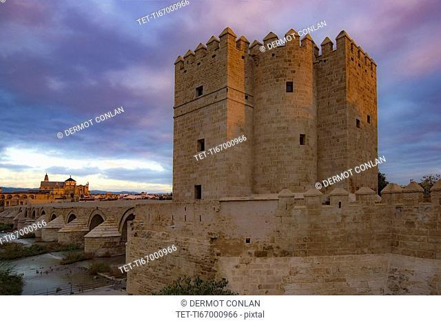 Spain, Andalusia,Cordoba, Facade of old church near bridge over Guadalquivir river