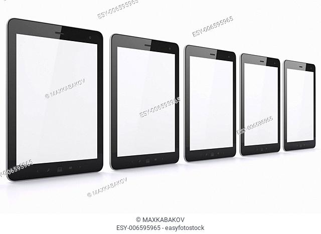 Black tablets on white background, 3d render. Just place your images on the screens!