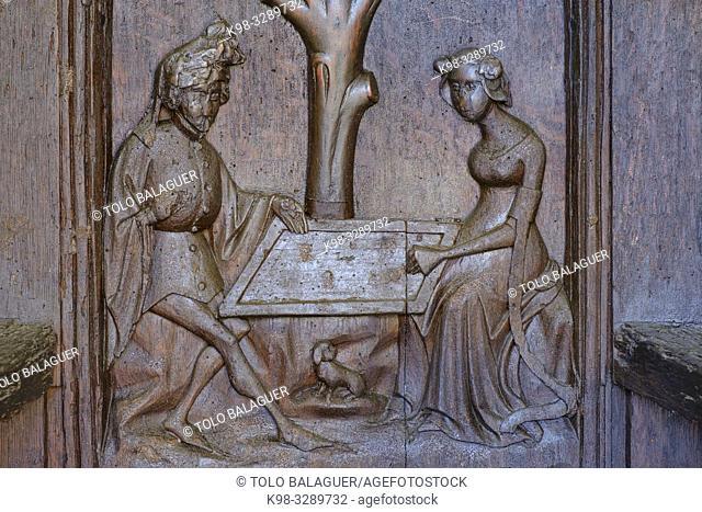 Tristán e Isolda jugando al ajedrez espiados por el rey Marco, Cadira d¨Alfàbia, siglo XV, - la cadira del rei moro -, Alfabia, Bunyola, Mallorca