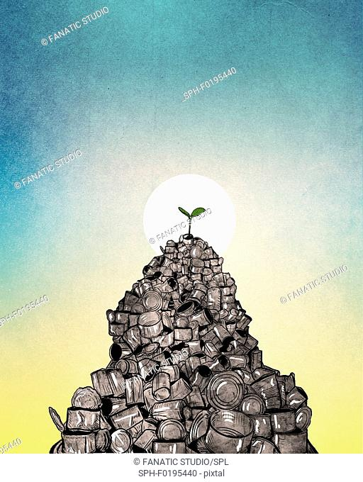 Illustration of plant growing from heap of cans